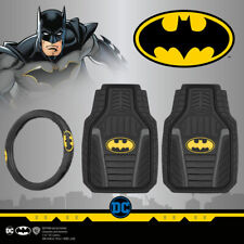 Batman PU Leather Steering Wheel Cover and Armored All-Weather Car Floor Mats