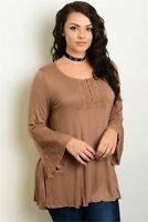 Women's Plus Size Brown Lace Accent Bell Sleeve Jersey Knit Peasant Top 1X NWT