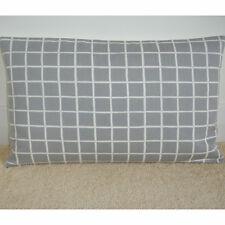 "20""x12"" Oblong Bolster Lumbar Cushion Cover Grey and Ivory Cream Geometric 12x20"