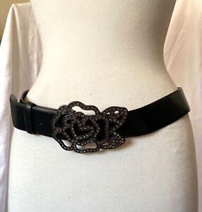 Jaeger Ladies Belt, Large jewelled Rose, Flower Buckle, Black Leather, Medium