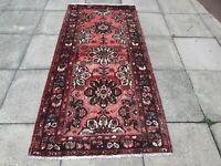 Vintage Old Traditional Hand Made Oriental Pink Red Wool Long Rug 220x107cm
