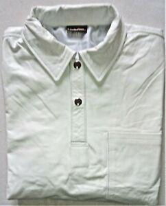 POLOHemd XL Kurzarm Lederhemd weiß Einzelstück NEU leather shirt new  XL cuir
