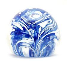 Vintage Art Glass Paperweight Royal Blue and White
