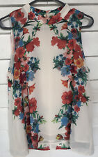 #12 forever 21 large top Sleeveless White Floral Multicolored Blouse