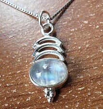 Blue Moonstone Triple Crescent 925 Sterling Silver Pendant Corona Sun Jewelry