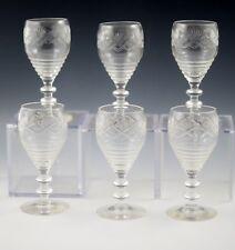Antique Cut Glass Beehive Shape Set Of 6 Goblets -Cordials