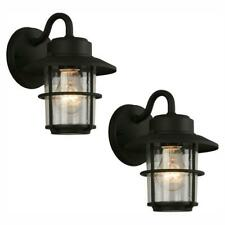1-Light Black Outdoor Wall Lantern Sconce (2-Pack) by  Hampton Bay