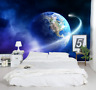 3D Blue Earth nebula Space Self-adhesive Kid Bedroom Wallpaper Wall Murals Decor