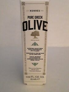 KORRES 🐎Pure Greek Olive Wrinkle Rewind Eye Creme 15 Ml New In Box