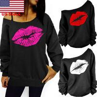 US Women Casual Loose Lip Sweatshirt Off Shoulder Long Sleeve Top Blouse T-shirt