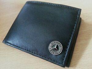 mercedes benz wallet black soft genuine leather bi-fold  cards coins metal badge