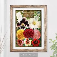 VINTAGE FLOWERS Art Print Poster Victorian Floral Colours Color Nature Plants