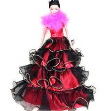 NEW Princess Wedding Party Dress Clothes Fashion Gown For Barbie Doll RED B86