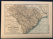 Authentic 1891 Color Map ~ SOUTH CAROLINA ~ Great Detail ~ RARE