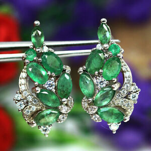 NATURALGREEN EMERALD & WHITE CZ EARRINGS 925 SILVER STERLING