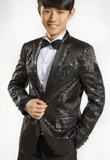 Fashion Mens Suit Bling Jacket Pants Coat Wedding Tuxedo Sequins Overcoat Size