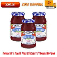 (3 Pack) Smucker's Sugar Free Seedless Strawberry Jam, 12.75 oz, Kosher