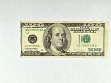 $100 One Hundred USA Dollar RARE Vintage 1996 Original Banknote with Error Print