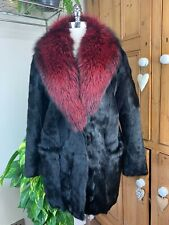 DIANE VON FURSTENBERG DVF GAUTAM BLACK REAL FUR COAT RED FOX FUR COLLAR BNWT M