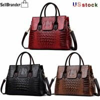 Women's Crocodile Pattern Handbag Sling Satchel Tote CrossBody Bag Shoulder Bags
