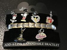 DISNEY ADD-A-LINK EXPANDABLE BRACELET AND MICKEY/ MINNY MOUSE,ARIEL,++CHARMS