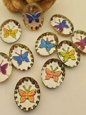 Vintage BUTTERFLY Crystal Iridescent Intaglio Glass Oval Pendant Charms Beads