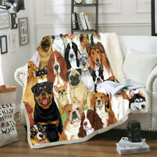 Animal Dog Collage 3D Print  Blanket Throw Sofa Bed  Fleece Single Double J20
