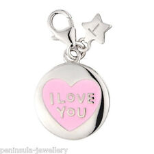 Tingle I Love You Heart Sterling Silver Charm With Gift Bag and Box