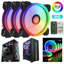 3-Pack RGB LED Cooling Fan 120mm 12V w/ Remote Control For Computer Case PC CPU