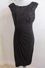NEW CONNECTED APPAREL SIZE 10 BLACK COCKTAIL DRESS SEQUINED TOP RUCHED SKIRT