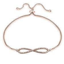 Rosegold Ton über Sterling Silber Zirkonia Infininty Verstellbares Armband