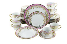 Pink & Gold Floral Patterned Porcelain 40-Piece Dinnerware Set Serving For 8