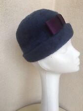 Vintage Cloche Hat Blue Fur Purple Bow Mid Century Betmar Mystere