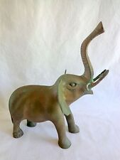 """Brass Elephant Figurine Lucky Trunk Up Heavy Metal 10"""" Statue Vintage Has Patina"""