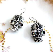 Skull Charm Earrings Aurora Borealis Rhinestone