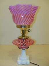 Fenton Cranberry Spiral Optic Opalescent Glass Electric Table Lamp Item 1781