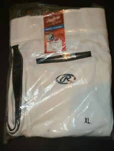 Men's Rawlings Baseball Softball Pants Size XL White with Black Accents - New