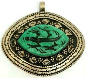 Afghan Natural Malachite Animal Intaglio Engraved Inlaid Pendant Tribal Oval Art