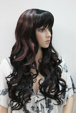 Wigs,Noir rouge mixte long Bouclé cosplay Halloween cheveux perruques