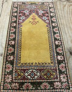 Traditional Hand knotted Turkish tribal Wool Rug 120x62 CM