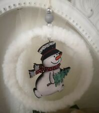 Door Wreath Hanger Snowman 5 1/2in Shabby Vintage Landhaus