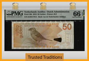 TT PK 30h 2016 NETHERLANDS ANTILLES 50 GULDEN BIRD PMG 66 EPQ GEM UNCIRCULATED!
