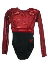 Gk Elite Red Sparkle/Black Gymnastics Leotard - Am Adult Medium 3990