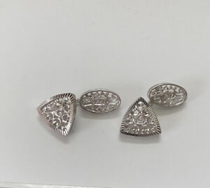 Vtg 18k White Gold & Diamond Cuff Links