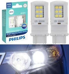 Philips Ultinon LED Light 3157 White 6000K Two Bulbs Front Turn Signal Park Lamp