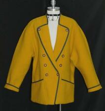 YELLOW ~ BOILED WOOL ~ German Women Warm Sport Dress JACKET Over Coat Eu 42 16 L