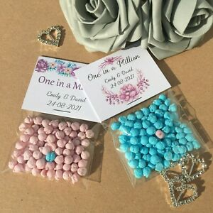 10 x Personalised Millions Sweet Favours Thank You Gift Wedding Christening DIY