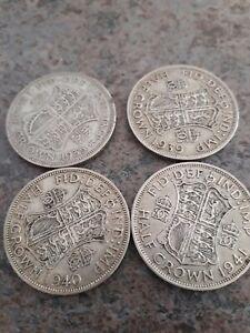 British silver half crown coins