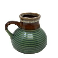 Vintage Green Coffee Mug Ceramic No Tip Wide Bottom Travel Car Dashboard Cup