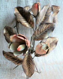 """MCM Vintage HOLLYWOOD REGENCY Brass 17"""" WALL ART Roses ITALY Pink & Gold MOD"""
